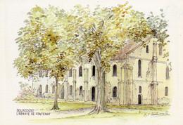Abbaye De Fontenay  Aquarelle De M.f.carbonnelle - Autres Communes