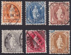 SUISSE, 1882-1904, Helvetia Debout Marque De Contrôle A, 20c,25c,30c,40c,1fr,3fr (Yvert 71-73-74-75-79-80) - Gebruikt