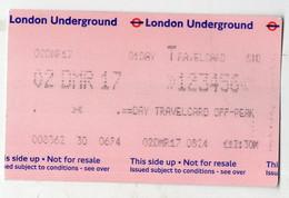 London-Londres  : Ticket Magnétique De Métro  (PPP28063) - Unclassified