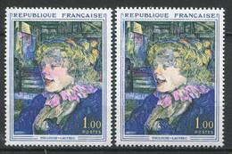 21291 FRANCE N°1426g**(Maury) 1F Toulouse-Lautrec : Nez Rouge Au Lieu De Jaune + Normal (non Fourni)   1965  TB - Varieties: 1960-69 Mint/hinged