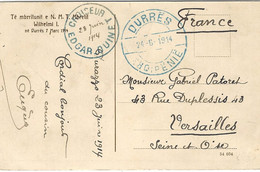 24-6-1914- CP A D'Albanie  De DURRES ( Durazzo )  Avec Cachet CROISEUR  EDGARD QUINET - Posta Marittima