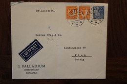Danmark 1936 Danemark Hellerup Cover Air Mail Par Avion Luftpost Flugpost Austria - Covers & Documents