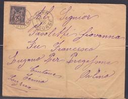 Lettre D'Algérie Pour Lugano 1896, Alger Bourse, Lugano, Pregassona (ref L A144) - Sage
