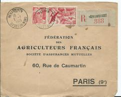 FRANCE -RECOMMANDÉ Sur Devant D'enveloppe - HÉNANBIHEN  - AVIATION  + TYPE GANDON - - 1921-1960: Moderne