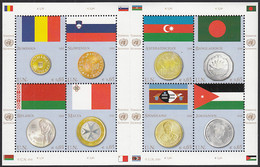 United Nations Vienna 2010 MNH Sc #459 Sheet Of 8 Flags And Coins - Nuevos