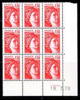 France Sabine YT N° 1974b Variété Sans Phosphore En Bloc De 9 Neufs ** MNH. Signés Calves. TB. A Saisir! - Varieties: 1970-79 Mint/hinged