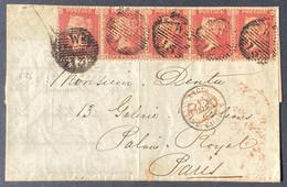 Grande Bretagne Lettre 1862 Bande De 5 Yvert N°14 Obl Killer W15 De Londres Pour Paris Pas Si Courant TTB - Covers & Documents