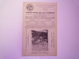 """2021 - 1264  HAUTES-PYRENEES  :  CARTON PUB  """" CHALET-HÔTEL Du LAC D'OREDON """"   XXX - Sin Clasificación"""