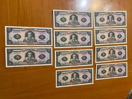 Lot De 10 Billets équateur 5 Sucres - Numéros Se Suivent 02453671 A 02453680 - NEUF - Ecuador
