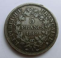 5 Francs, France, 1849, Hercule, Argent - J. 5 Franchi