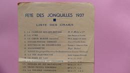 GERARDMER - FETE DES JONQUILLES 1937 LISTE DES CHARS - Programmi