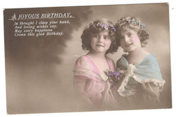 """Postcard Vintage 1915 Used """"Young Girls""""  A Joyous Birthday, Hand Colored See Description - Children And Family Groups"""