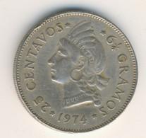 DOMINICANA 1974: 25 Centavos, KM 20a - Dominicana
