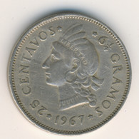 DOMINICANA 1967: 25 Centavos, KM 20a - Dominicana