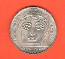 Cecoslovacchia 25 Corone 1970 Korun Czechoslovakia Kronen X 50 ° Theater National Silver Coin - Czechoslovakia