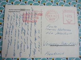 EMA AUTO UNION DKW ...jeder Kilometer Ein Sicheres Vergnügen 15/06/1964 Ingolstadt 807 Sur CP Usines - Machine Stamps (ATM)