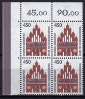 BRD, 1992, Nr. 1623 ** Sehenswürdigkeiten (XII), Ein Eckrand-Viererblock Oben Links - Neufs