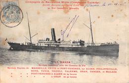 """¤¤ Cpa 1908 """" LA MARSA """" Compagnie De Navigation Mixte (Compagnie Touache) Liaison PORT-VENDRES▬►ALGER ¤¤ (¬‿¬) ♣ - Paquebots"""