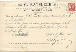 FAC028 -België  Factuur C.BATSLEER HOTELDE VILLE  GAND 1913 Stempel Gent/Gand - 1900 – 1949