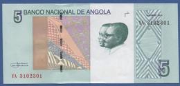 ANGOLA - P.151A –  5 KWANZAS 2012 AUNC Prefix YA  - Scritta Penna - Angola