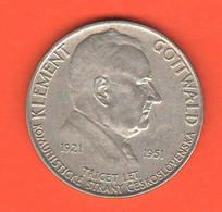Cecoslovacchia 100 Corone 1951 Korun Czechoslovakia 100 Kronen X 30° Communist Party Silver Coin - Czechoslovakia