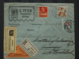 Schweiz Registered Letter To Sweden M125 1917 Porto Marke Remboursement - Briefe U. Dokumente