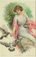 Illustrateur : LESTER RALPH. Femme Et Pigeons. Feathered Friends. - Andere Illustrators