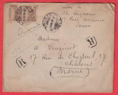 TUNISIE LETTRE RECOMMANDE SOUSSE TUNISIE POUR CHALONS SUR MARNE 1912 - Covers & Documents