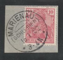 """[1325] Deutsches Reich - 1902 - KOS-Stempel """"MARIENAU (SCHLESIEN)"""" Auf Bfst. Mit 10 Pfg. """"Germania"""" - Affrancature Meccaniche Rosse (EMA)"""