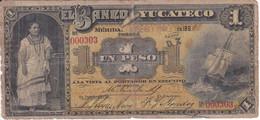 BILLETE DE MEXICO DE 1 PESO DEL BANCO YUCATECO DEL AÑO 1892 (BANKNOTE) MUY RARO - Mexico
