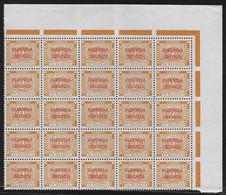 TX15/19 Due Strafport Taxe Ruanda Urundi On Belgian Congo Belge Karmijn Carmin Block 25 VF Corner Sheet - Postage Due: Mint/hinged Stamps