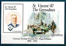 St. Vincent + Grenadinen Block 288 Mnh **, Eckener Luftschiff Ballon Zeppelin - St.Vincent & Grenadines