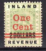 1890 British Guiana Overprint 1 Cent On 2 Dollars MLH* Mi 95 - British Guiana (...-1966)