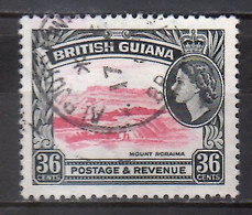 1953 British Guiana Queen Elisabeth II Landscapes  Used  1 V  36 C MiNr. 208 Mountain Roraima - British Guiana (...-1966)