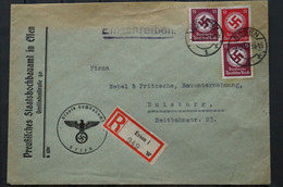 Deutschland Deutsches ReichStaats Hochbauamt Dienstmarke Essen To Duisburg1942 - Briefe U. Dokumente