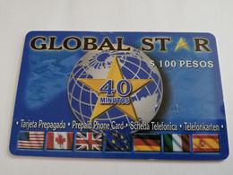 MEXICO $ 100 PESOS   PREPAID GLOBAL STAR / 40 MINUTES FLAGS & GLOBE      ** 5150** - Mexico
