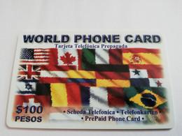 MEXICO $ 100 PESOS   PREPAID WORLD PHONE CARD  / 40 MINUTES FLAGS      ** 5151** - Mexico