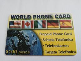 MEXICO $ 100 PESOS   PREPAID WORLD PHONE CARD  /  FLAGS      ** 5152** - Mexico