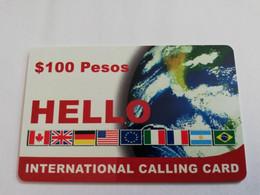MEXICO $ 100 PESOS   PREPAID WORLD FONE WORLD   /  FLAGS      ** 5154** - Mexico