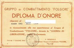 "** GRUPPO DI COMBATTIMENTO. "" FOLGORE "".- DIPLOMA D' ONORE 1945. ** - Documentos"