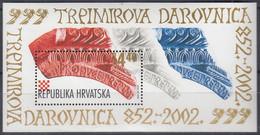 """KROATIEN  Block 20, Postfrisch **, 1150. Jahrestag Der Ersten Urkundlichen Erwähnung Des Wortes """"Kroate"""", 2002 - Croatie"""