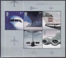 GROSSBRITANNIEN  Block 13, Postfrisch **, Transportwesen (II): 50 Jahre Einsatz Von Düsenverkehrsflugzeugen, 2002 - Blocks & Kleinbögen