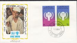 Qatar  749-750, FDC, UNICEF, Internationales Jahr Des Kindes, 1979 - Qatar