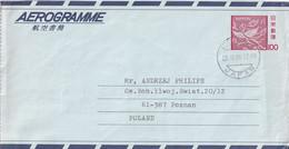 Entier Aerogramme 100 Circulé 23/11/80 - Ichikawa JAPAN  à Poznan POLAND - Aerogramas