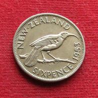 New Zealand 6 Pence 1953 KM# 26.1 *V1 Sixpence  Nova Zelandia Nuova Zelanda Nouvelle Zelande Six - New Zealand