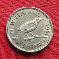 New Zealand 6 Pence 1964 KM# 26.2 *V2  Sixpence  Nova Zelandia Nuova Zelanda Nouvelle Zelande Six - New Zealand
