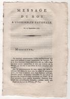 REVOLUTION FRANCAISE - MESSAGE DU ROI A L'ASSEMBLEE NATIONALE 13 09 1791 - ACCEPTATION DE LA CONSTITUTION PAR LE ROI - Historical Documents