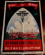 AFFICHE ORIGINALE ANCIENNE . VILLE DE RENAIX  2e Foire Commerciale Du 9 Au 21 Juillet 1949 . TONY PIRON .RONSE BELGIQUE - Posters