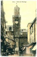 14500 VIRE - Porte De L'Horloge - Tramée Genre Toile Moirée, Commerces - Postée En 1908 - Vire