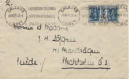 1931- Env. Affr. 1,50 EXPO COLONIALE INTERN. Oblit.  Krag D'Orléans De L'EXPO  Pour La Suède - 1921-1960: Periodo Moderno